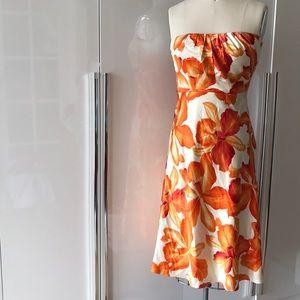 Silk lined hibiscus print dress